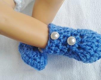 chaussons bottines bleu pour bébé taille naissance