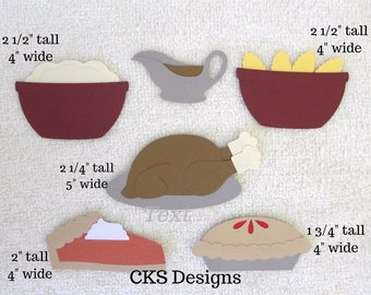 Die Cut Thanksgiving Turkey Dinner/Meal/Feast Premade Paper Piecing Embellishment for Card Making Scrapbook or Paper Crafts