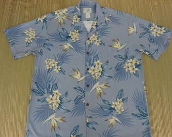 Vintage Hawaiian Shirt 80s HO ALOHA Flower Bird of Paradise Plumeria Luau Surfer Beach Party Mens - L - Oahu Lew's Shirt Shack