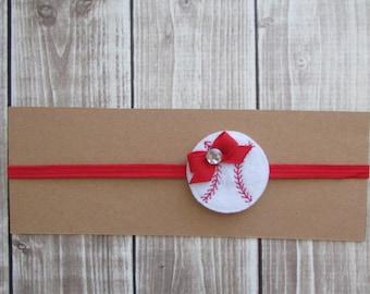 Baseball Headband, Skinny Headband, Baby Gift, Girls Headband, Infant Headband
