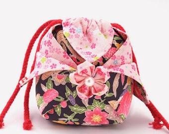 Small Drawstring Bag with Sakura,Kimono Pouch Silk,Christmas Gift,Pink Lotus in Black,Lotus Drawstring,Cherry Blossom,Quilted No.S1