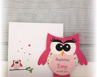 Invitation - shape fuchsia OWL birth announcement - stars