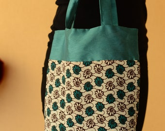 reversible Green and patterned tote bag