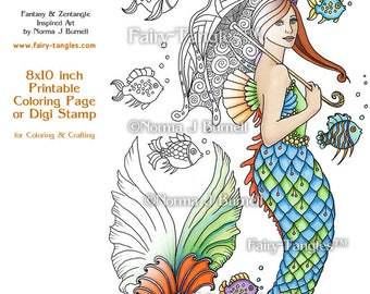 A Mermaid Takes a Stroll Fairy Tangles Printable Coloring book Sheets Norma Burnell Mermaids to color Digital Coloring pages Adult Coloring