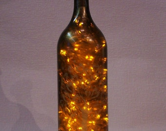 Lighted Bottle. Recycled Hand Decorated 1.5 Liters Wine Bottle with 200 LED Yellow Lights Inside. Bottle Lamp. Party Decor Lights.