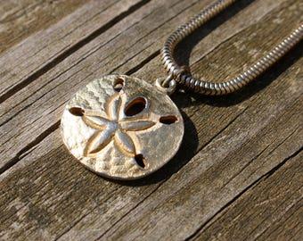Vintage, Sand Dollar, Goldtone, Gold, Necklace, Choker, Jewelry, Beach, Ocean, Brass, Metal, Sand Dollar Jewelry, Tropical, Boho, Hippie