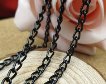 5M Length Aluminum Black Chains,Bracelet Chain,DIY Necklace Chain,Bulk Chains-c1044