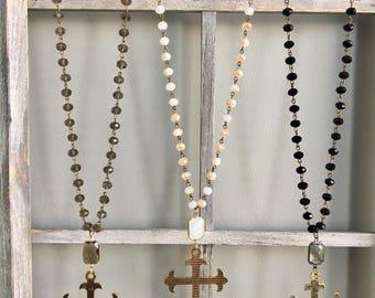 Crystal Bead Cross Necklace