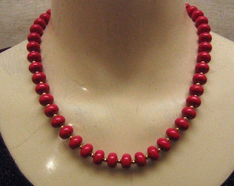 True Red, 1980s Plastic Bead Necklace