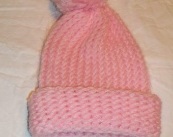 Handmade In America - Newborn Pink Toboggan With Pom Pom On Top