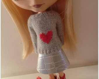 "pdf knitting pattern - Lots of Love sweater for 12"" Blythe"