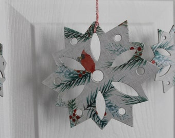 12 Cardinal & Evergreen paper/chipboard large/small Snowflake die cuts use as ornaments, garlands+
