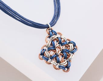 Chainmaille, Copper, Geometric Jewelry, 21st Birthday Gift, 10th Anniversary Gift, Chain Mail, Pendant Necklace, Navy Blue Necklace Aluminum