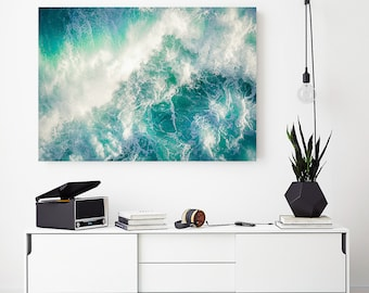 Teal, white, Abstract Seascape, Large Canvas, XXL, Seascape, Extra large wall art, Teal, Blue, Canvas, Extra large, livingroom decor, water