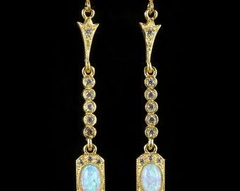 Opal Paste Long Earrings 18ct Gold on Silver
