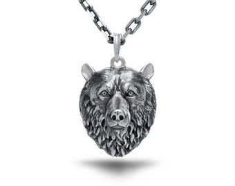 Bear necklace bear jewelry animal necklace skull necklace bear necklace bear jewelry bear pendant grizzly jewelry bear totem viking jewelry animal ring forest jewelry bear face polar bear head gift aloadofball Images