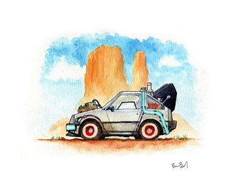 DeLorean Time Machine - Inspired by Back to the Future III Watercolor Print