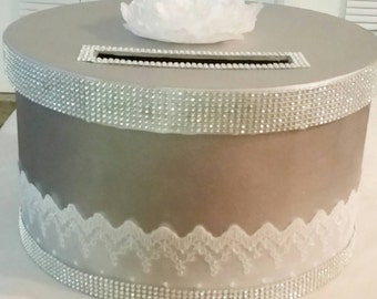 Card box silver, white lace, and rhinestone
