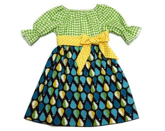Girls Fall Dress Back To School Pears Yellow Polka Dot Green Gingham Peasant Size 6-12 month, 18 month, 2 / 3, 4 / 5, 6 / 7, 8 / 9