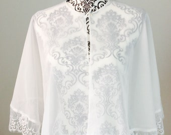 Ready to ship / Bridal capelet - Ivory chiffon and lace - Cover-up