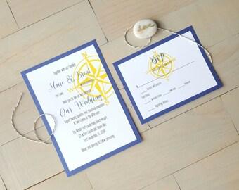 Nautical Wedding Invitations, Destination Wedding, Beach Wedding