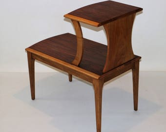 Mid Century Modern Walnut Step Table