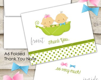 Two Peas in a Pod Baby Folded Thank You Note