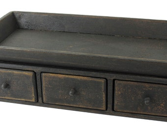 Tray with Drawer - Table Center Piece Primitive Country Decor Black
