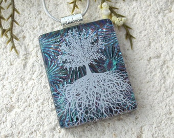 Tree of Life, Fused Glass Jewelry, Dichroic Pendant, Dichroic Jewelry, Rooted Tree, Teal Pink , Nature Jewelry, Silver Chain,061216p103