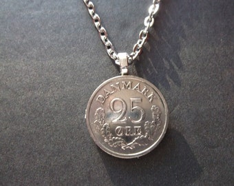 Danish 25 ORE Coin Necklace from Denmark dated 1962- Denmark Coin Pendant