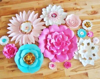 Set of 14 Flowers - Paper Flowers | Paper Flowers for Nursery | Paper Flower Backdrop | Paper Flower | Paper Flower Wall | Paper Flower Art
