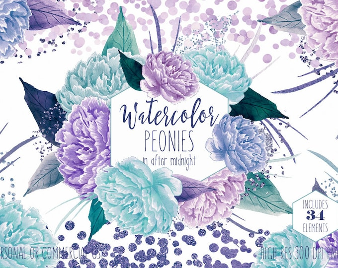 TEAL & PURPLE FLORAL Clipart Commercial Use Clip Art Watercolor Peonies Navy Blue Peony Metallic Confetti Modern Flowers Wedding Graphics