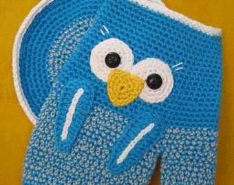 Owl oven glove potholder mitts kitchen decor crochet pattern pdf