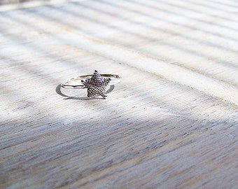 Sterling Silver Starfish Ring, Silver Starfish Stack Ring, Stack Ring, Beach Ring, Starfish
