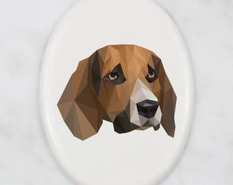 A ceramic tombstone plaque with a Beagle dog. Art-Dog geometric dog