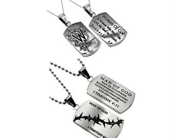 "His & Hers Necklace Set  ""Woman of God"" - ""Man of God"""
