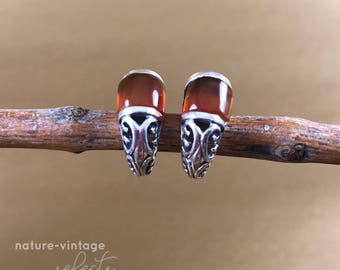 Vintage Agate and Sterling Silver Earring Studs / Orange Earrings / Brown Earrings / Boho Earrings / Everyday Earrings /  Gifts for Her