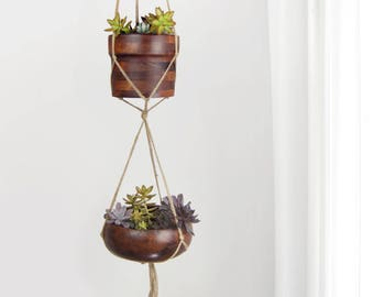 Large double natural beige macrame plant hanger for hanging planters | Raw jute twine pot holder | Add your own 2 pots | Modern Home Decor