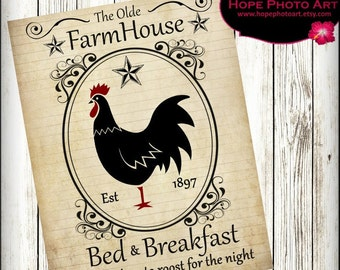 Rooster Vintage Farmhouse Bed Breakfast Digital Collage Sheet 8.5x11 Image Transfer Wall Art Instant Download Printable UPrint 300jpg
