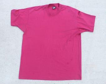 Vintage 80's Blank Maroon Burgundy Dark Red Screen Stars Tee T Shirt Size XL Made In USA