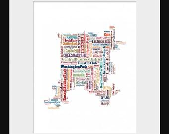 Denver  Map Color Typography Color Map Poster Print