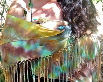 Natural silk shawl with fringes, hand painted with shades of green