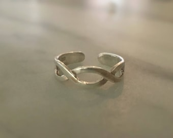 Toe Ring Sterling Silver, Braided Toe Ring, Adjustable Silver Toe Ring, Ring, Sterling Silver Ring, Sterling Silver Jewellery