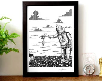 Worse Things Happen At Sea, A4 Print. Giant Robot Print, Steampunk Print, Child's Bedroom Print.