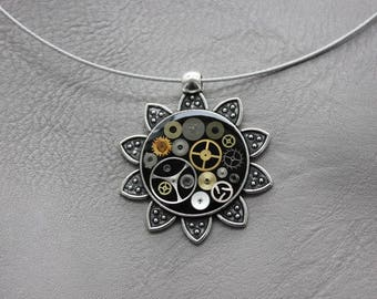Choker + Sun pendant in steampunk watch parts and resin