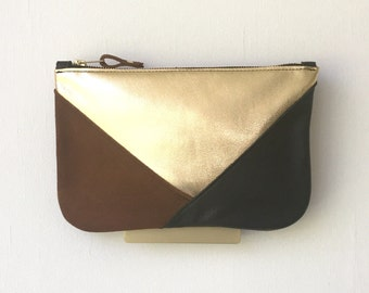 Trinity Clutch, Handheld Two-tone Leather Bag - Limited Edition