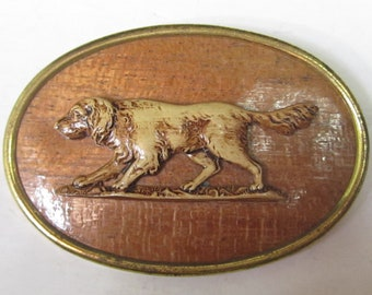 Vintage Celluloid? Hunting Dog Brooch Pin