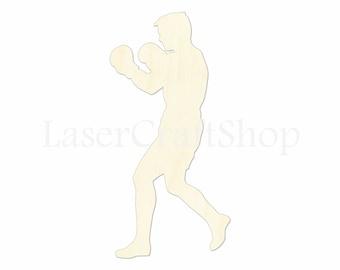 "2"" - 34"" Boxer Wooden Cutout Shape, Silhouette, Gift Tags Ornaments Laser Cut Birch Wood  Sport #1093"