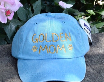 Golden Dog Mom Hat - Handwriting Baseball Cap - Embroidered Paw Prints •  The Best Personalized Dog Mom Gifts by Three Spoiled Dogs
