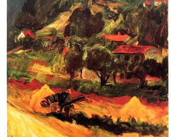 Fine Art Print - Chaim Soutine - Landscape at Ceret - 1985 Vintage Book Page - Reproduction Print